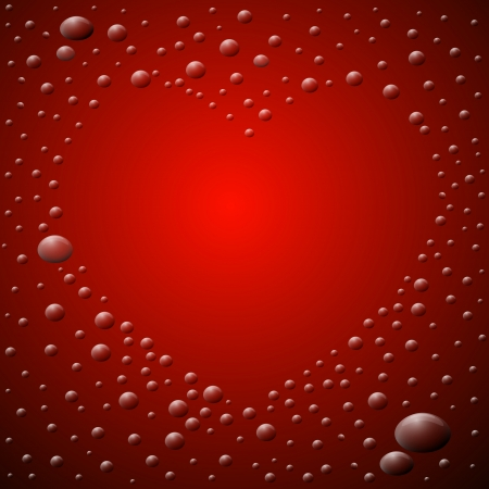 Abstract Red Background. Heart Shaped Waterdrops.  Illustration