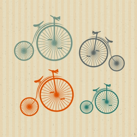Abstract Vector Old, Vintage Bicycles, Bikes on Recycled Paper Background  Vector