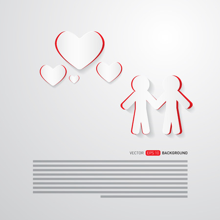 Vector People and Paper Hearts Abstract Background  Vector