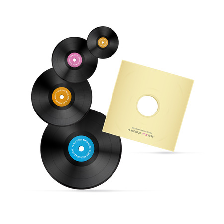 tracklist: Vector Vinyl Record Discs With Paper Cover Isolated on Grey Background