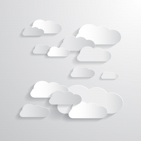 Vector Clouds Cut From Paper Background