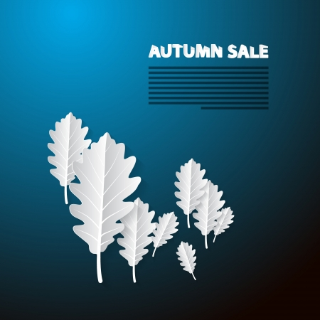 Autumn Sale Blue Background With White Oak Paper Leaves Vector