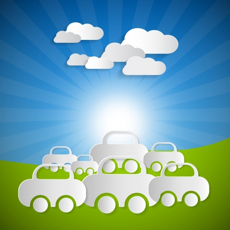 Vector Landscape Background With Paper Cars and Clouds on Blue sky Vector