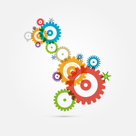 Abstract Colorful Cogs - Gears on White Background 版權商用圖片 - 25231320