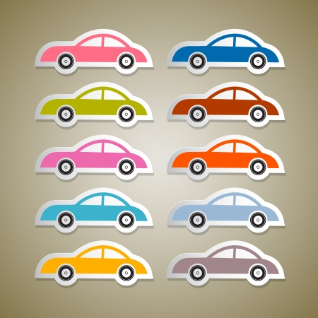 Abstract Vector Colorful Paper Cars Set Vector