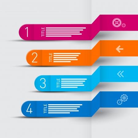 チュートリアルでは、インフォ グラフィックのベクター レトロな紙進行手順