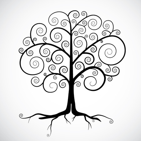 tree isolated: Abstract Vector Black Tree Illustration Isolated on Light Grey Background