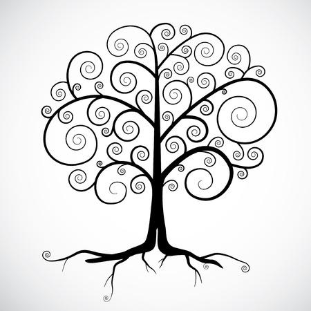 Abstracte vector zwarte boom illustratie geïsoleerd op lichtgrijze achtergrond