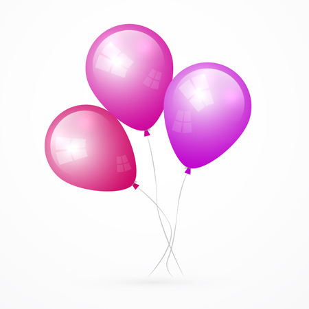 Pink, Purple Vector Balloons Isolated on White Background