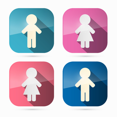 Man and Woman Icons, Symbols in Rounded Squares Vector