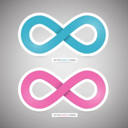 灰色の背景にベクトル青とピンクの紙の無限大記号