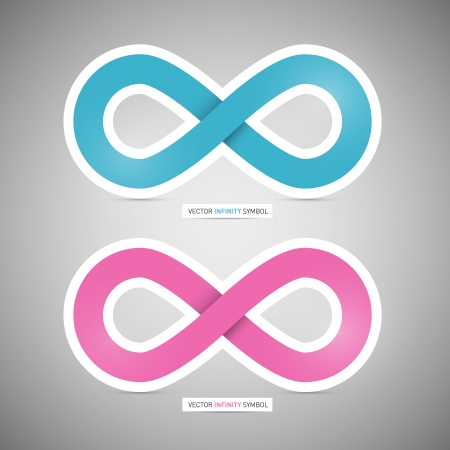 Vector Blue and Pink Paper infinity symbols on Grey Background
