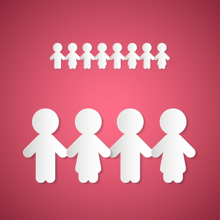 holding hands: Paper People Holding Hands on Pink Background