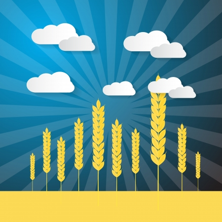 Retro Vector Ears of Wheats Field With Blue Sky and Paper Clouds