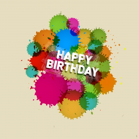 Happy Birthday Vector Background with Colorful Blots, Splashes  Vector