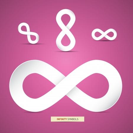 Vector Paper Infinity Symbols on Pink Background  Illustration