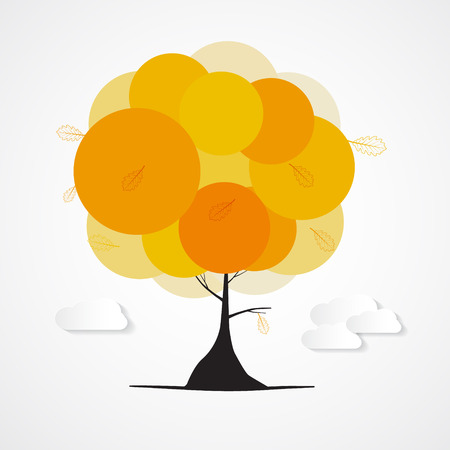 orange tree: Abstract Vector Autumn Orange Tree with Clouds Isolated on White Background