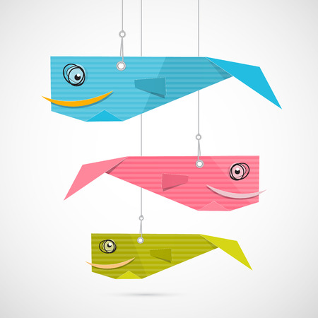 Paper Fish Made from Blue, Pink, Green Cardboard Hang on Strings Vector