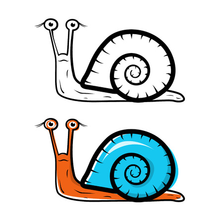 Snail Illustration - Outlined and Colored Vector