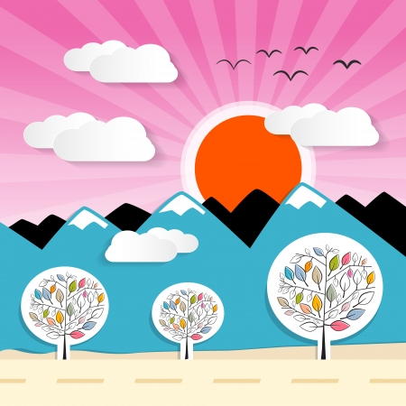 Nature Paper Mountains Illustration with Clouds, Sun, Pink Sky  Vector