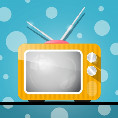 Retro Orange Television, TV Illustration on Abstract Blue Background  Vector