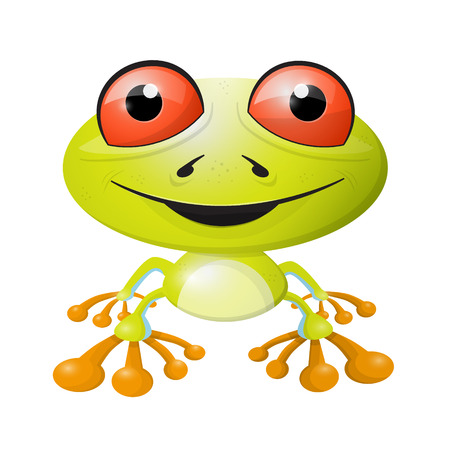 red eyed tree frog: Abstract Vector Frog Illustration Isolated on White Background Illustration