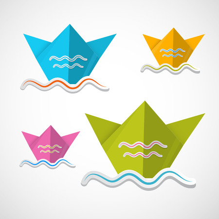 Colorful Vector Paper Boat Origami Set Vector