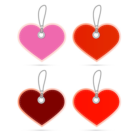 Hearts Labels on Strings Isolated on White Background Vector