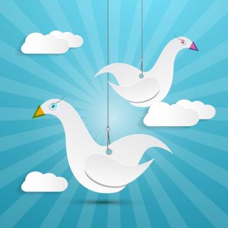 Vector Paper Birds Hang on Rope with Retro Sky and Clouds Background Vector