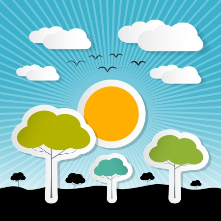 Paper Vector Nature Background with Trees, Clouds and Sun Vector