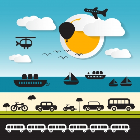 subway road: Vector Transportation Icons on Landscape Background with Sun, Sea, Road Illustration