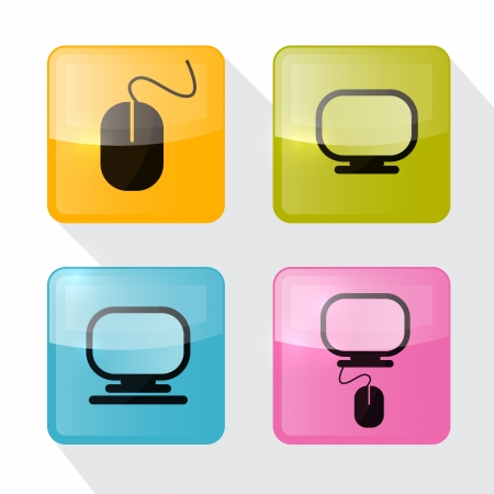 Computer Icons Set - Blue, Green, Pink and Orange Square Icons with Mouse and Screen Vector