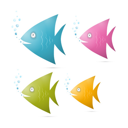 Colorful Fish Set Illustration Isolated on White Background Vector