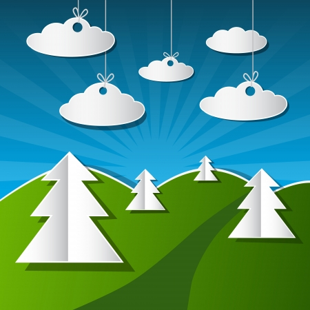 Vector Illustration of Trees, Clouds and Blue Sky Made from Paper Vector