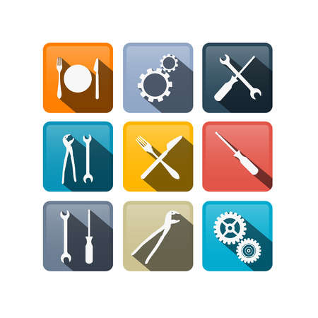 pincers: Retro Vector Buttons: Cogs, Gears, Screwdriver, Pincers, Spanner, Hand Wrench Tools, Knife, Fork  Illustration