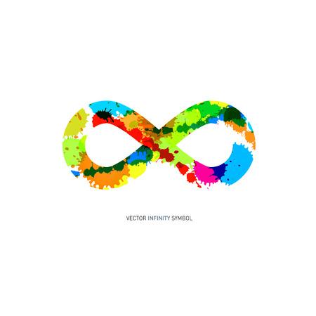 signo infinito: Colorful Abstract Splash símbolo de infinito en el fondo blanco