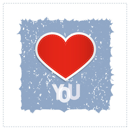 I Love You Theme With Red Heart Made From Paper  Vector
