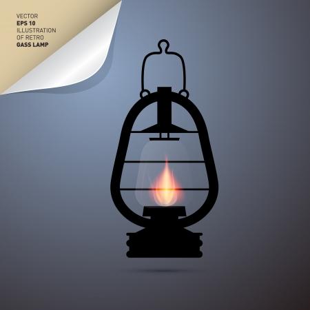 candil: Ilustración del vector de la vendimia de la linterna, lámpara de gas Vectores