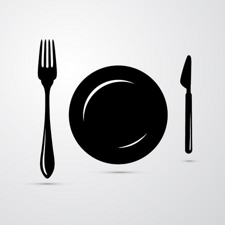 dinnerware: Fork, Plate and Knife Illustration