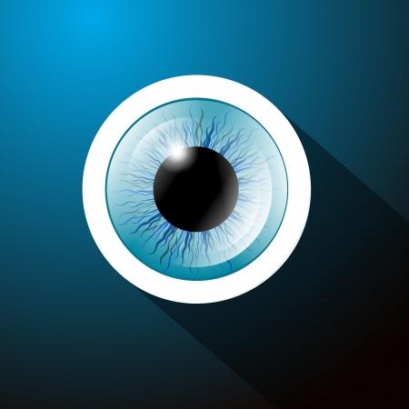 ojo azul: Abstract Vector Blue Eye en fondo azul marino