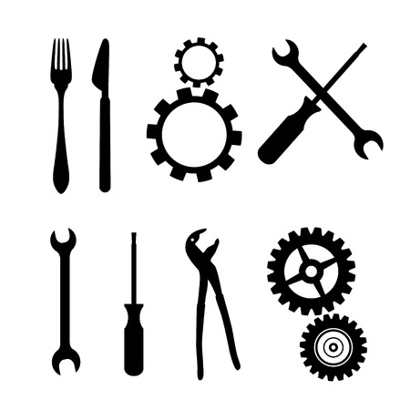 Black Symbols Isolated on White Background - Cogs, Gears, Screwdriver, Pincers, Spanner, Hand Wrench Tools, Knife, Fork  Vector