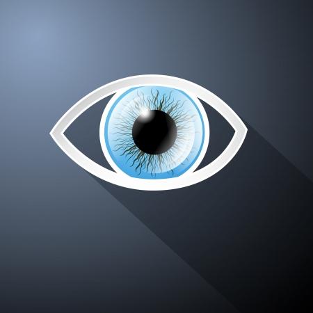 ojo azul: Resumen de papel Vector Blue Eye en fondo azul marino Vectores