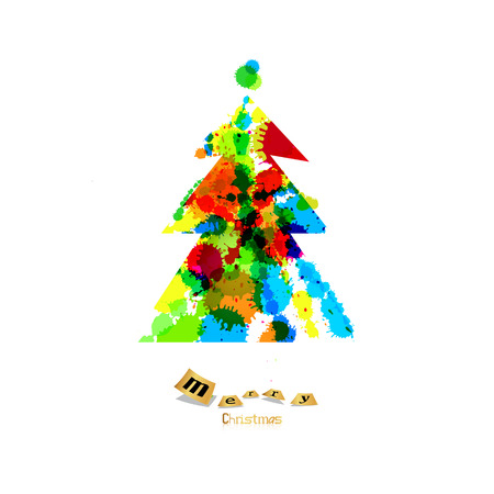 Abstract Vector Colorful Christmas Tree Made From Splashes, Blots  Vector
