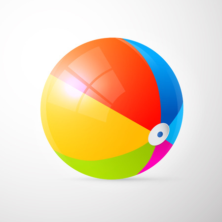 beach game: Colorful Vector Beach Ball Isolated on Light Grey Background