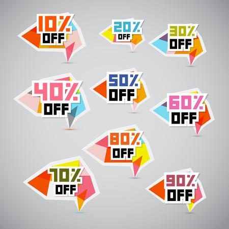 Vector 10% off, 20% off, 30% off, 40% off, 50% off, 60% off, 70% off, 80% off, 90% off, Stickers, Labels  Vector