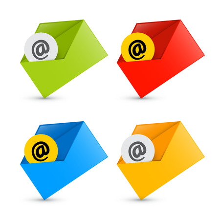 E-mail, Email Icons, Envelope Icons Set Isolated on White Background  Vector
