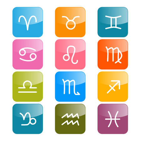Vector Zodiac, Horoscope Rectangle Colorful Symbols Vector