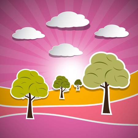 Paper Vector Nature Landscape with Trees, Clouds and Sun Vector