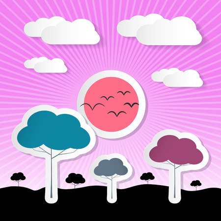 Paper Vector Nature Violet Background with Trees, Clouds and Sun Vector