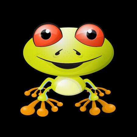 red eyed tree frog: Abstract Vector Frog Illustration on Black Background Illustration